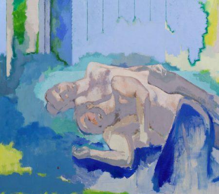 Simon Martin, Sans titre, couple devant un volet bleu, 2019, huile sur toile, 195 x 180 cm_site