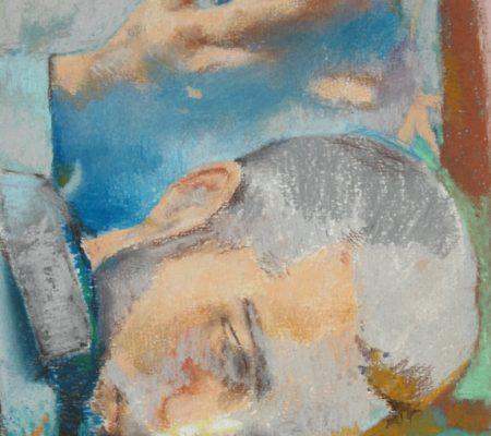 """Simon Martin, """"Sans titre, bouquet de fleurs et smartphone"""", 2020, pastel sec sur papier, 24x19 cm - Galerie Jousse Entreprise"""