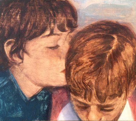 Nathanaëlle Herbelin,Bisous, 2020, huile sur bois, 19 x 24 cm