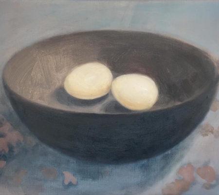 Nathanaëlle Herbelin, Oeufs, 2020, 23 x 28 cm, huile sur toile