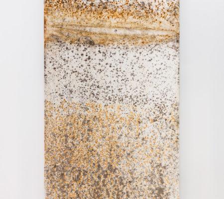 """Clément Borderie, toile produite par la matrice """"Sinusoïde"""", été/automne 2014, Ivry-sur-Seine, toile de coton brut, 180 x 180 cm"""