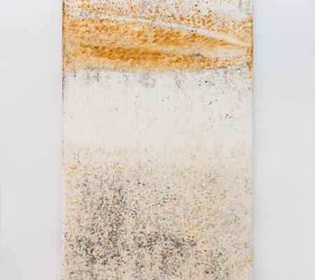 """Clément Borderie, toile produite par la matrice """"Sinusoïde"""", hiver 2015, Ivry-sur-Seine, toile de coton brut, 180 x 180 cm"""
