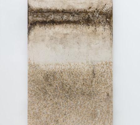 """Clément Borderie, toile produite par la matrice""""Sinusoïde"""",printemps/été 2018, Senlis,toile de coton brut, 180 x 180 cm"""