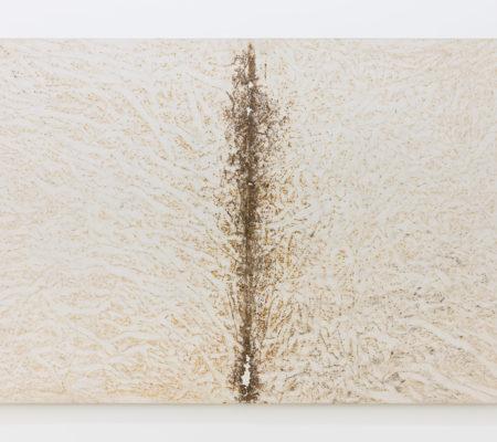 """Clément Borderie, toile produite par la matrice """"Aile II"""", printemps/été 2005, Ivry-sur-Seine,toile de coton brut, 190 x 300 cm"""
