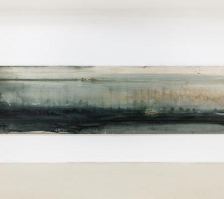 """Clément Borderie, """"Paysage II"""", toile produite par un foulon, 2016, Le Puy-en-Velay, toile de coton brut, 140 x 575 cm"""