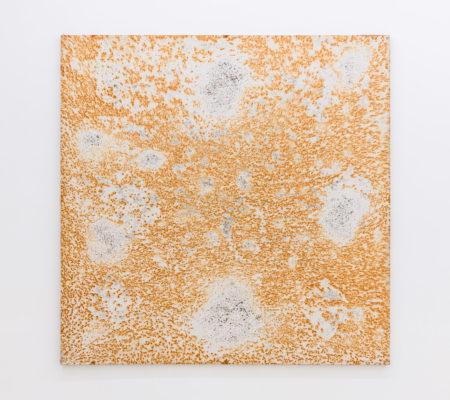 """Clément Borderie, toile produite par la matrice""""Table"""", printemps/été 2008, Ivry-sur-Seine, toile de coton brut, 200 x 200 cm"""