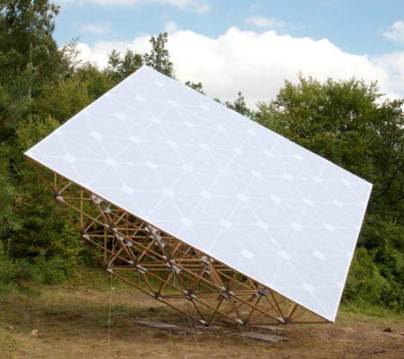 """Jennifer Caubet, """"Terrain d'occurences"""", 2012, accacia, aluminum, câble inox, boulon, pierre bâche PVC micro-perforée, 10 m x 10 m x 7 m"""