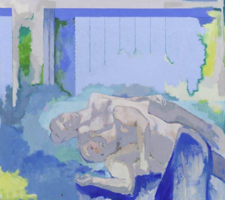 Sans titre, couple devant un volet bleu, 2019, huile sur toile, 195 x 180 cm_photo Julie Coulon_web_1