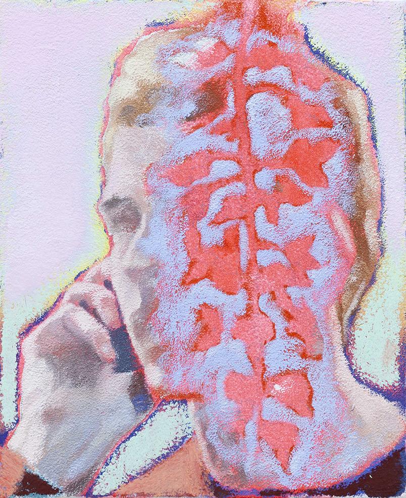 Ta voix dans les glycines III, 2020, huile - acrylique - pastel gras sur toile, 27 x 22 cm_photo Julie Coulon_web_1
