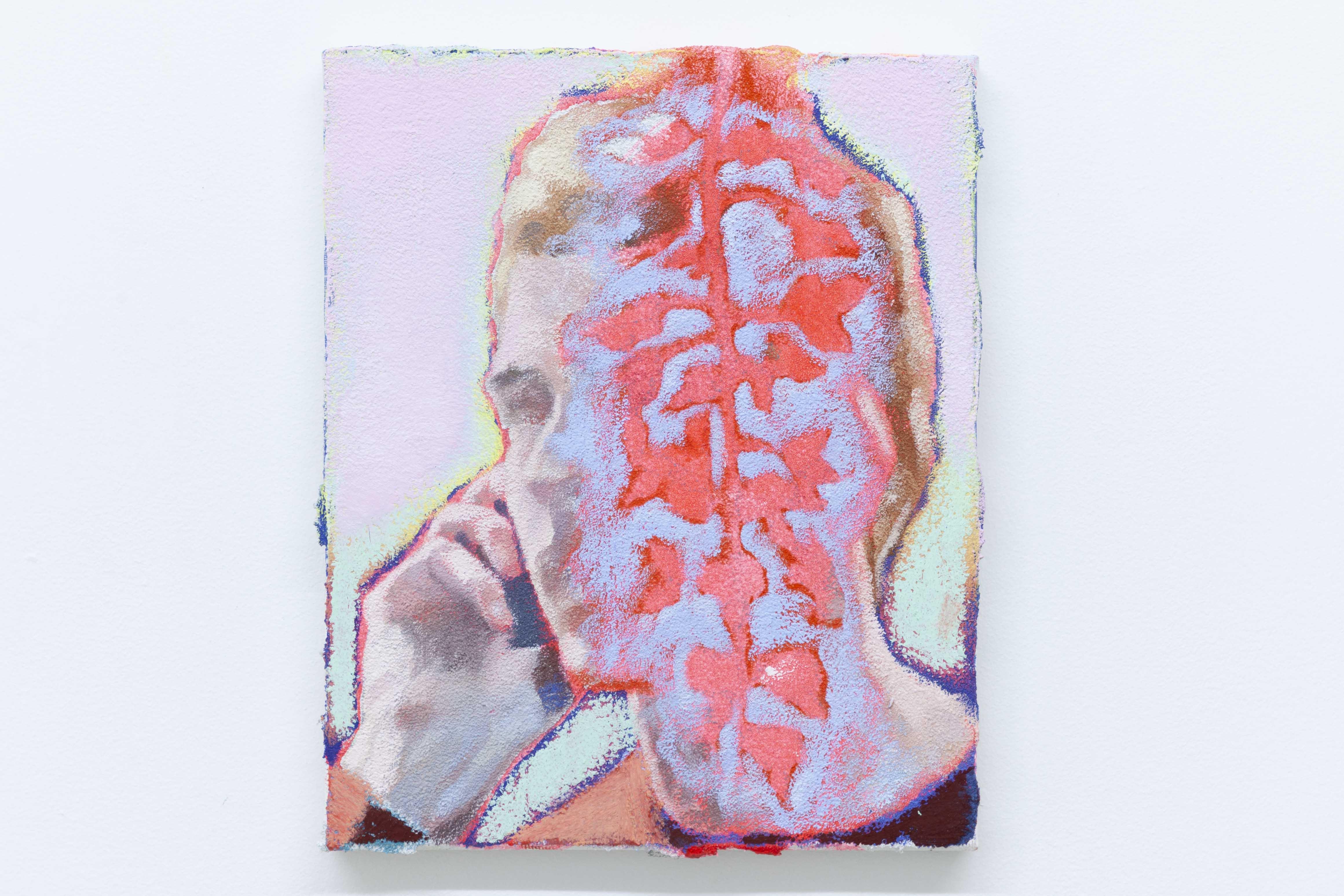 Ta voix dans les glycines III, 2020, huile - acrylique - pastel gras sur toile, 27 x 22 cm_photo Julie Coulon_web_2