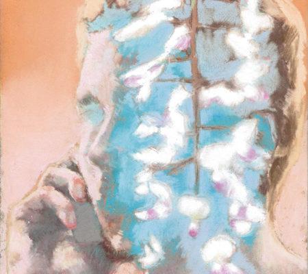 Ta voix dans les glycines, étude,2020, pastel sec sur papier, 24 x 19 cm_web