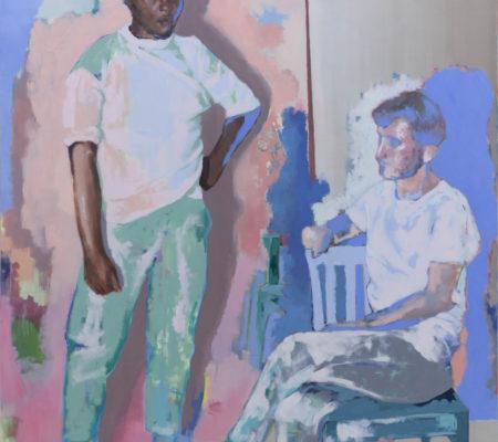 Thibaut et Nicolas dans l'atelier de Christine, 2020, huile sur toile, 195 x 160 cm_photo Julie Coulon_web_1