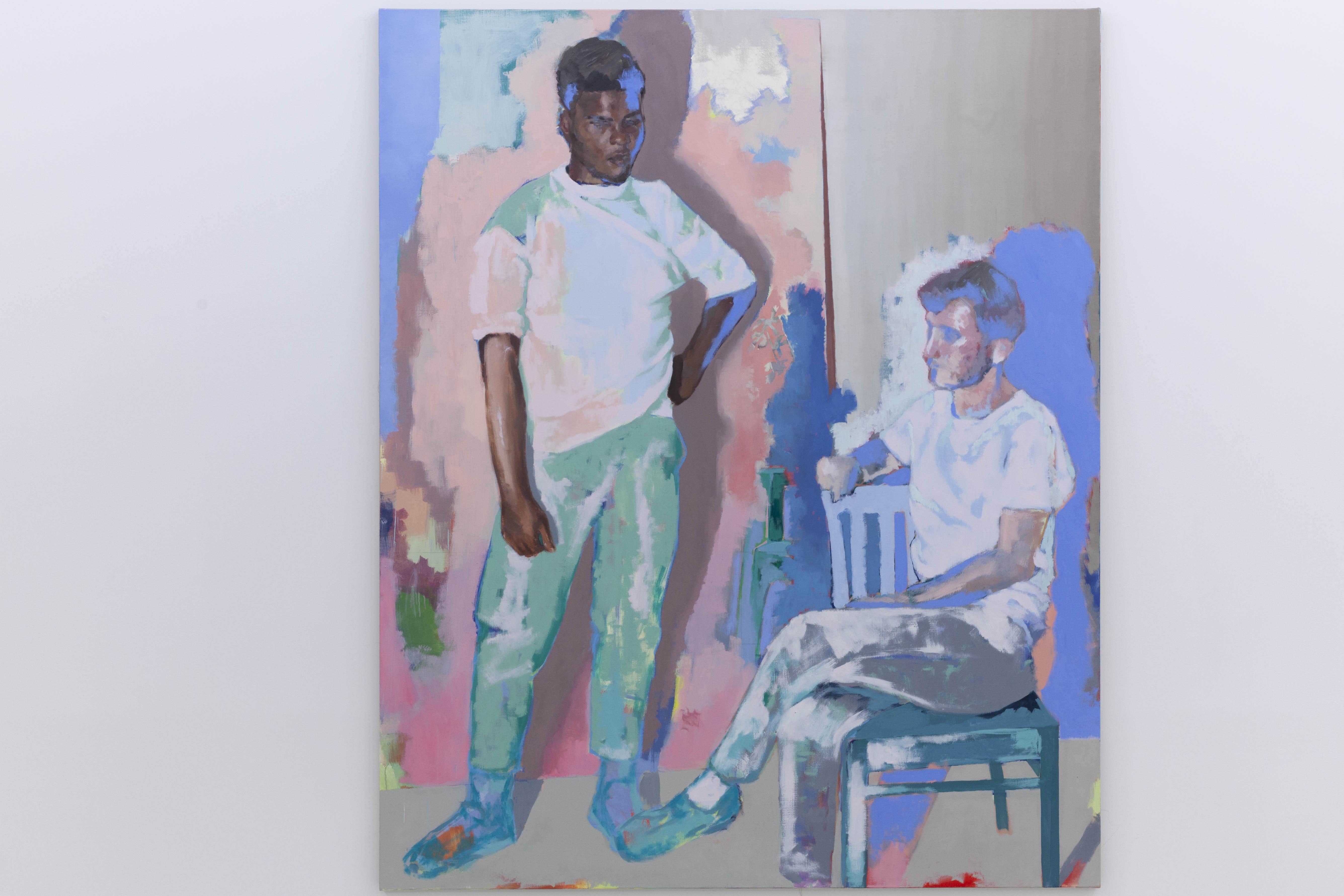 Thibaut et Nicolas dans l'atelier de Christine, 2020, huile sur toile, 195 x 160 cm_photo Julie Coulon_web_2