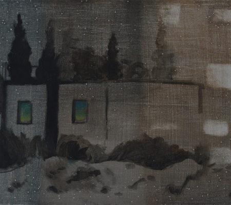 Abri comme base pour immeuble, Neguev, 2015, 20x25c, huile sur bois et paillettes_web