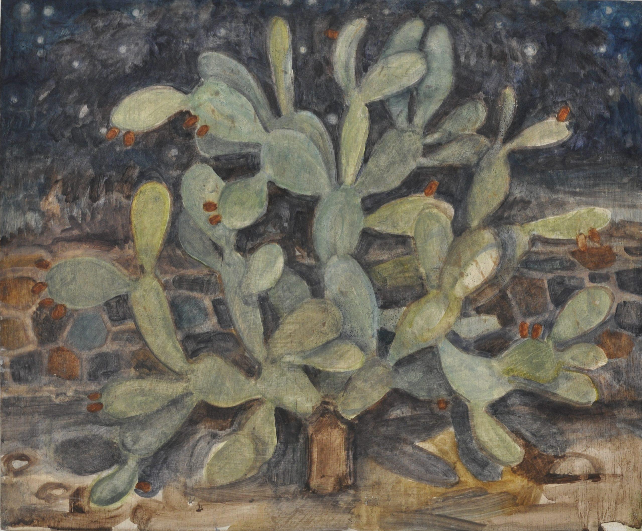 Cactus, Arad, nuit 2018, 38x46cm, oil on wood