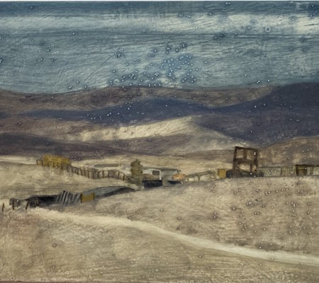 Village Bedouin, Bikat Kanaim, 2018, huile sur bois, 21 x 30 cm