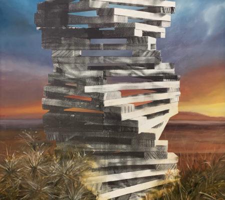 Zoled II, 2020, Huile, acrylique et encre de sérigraphie sur toile, 210 x 170 cm_web
