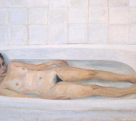 Elene dans la baignoire, 2021, 116 x 73 cm, huile sur toile_BD