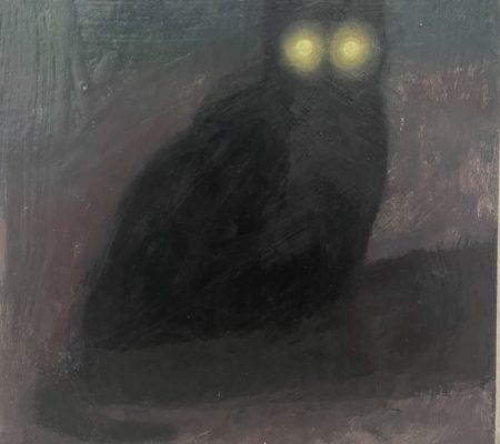 Chat noir, 2020, huile sur bois, 32 x 28,5 cm