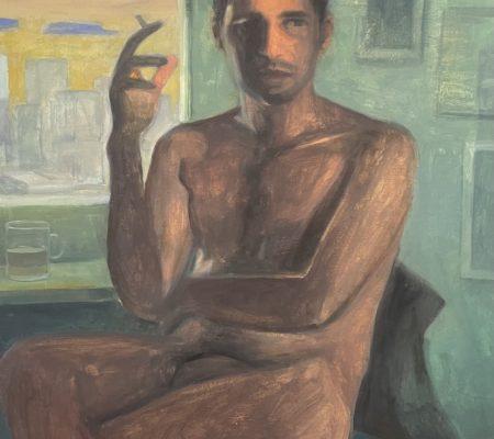 David, 2020, gouache et huile sur bois, 61 x 50 cm