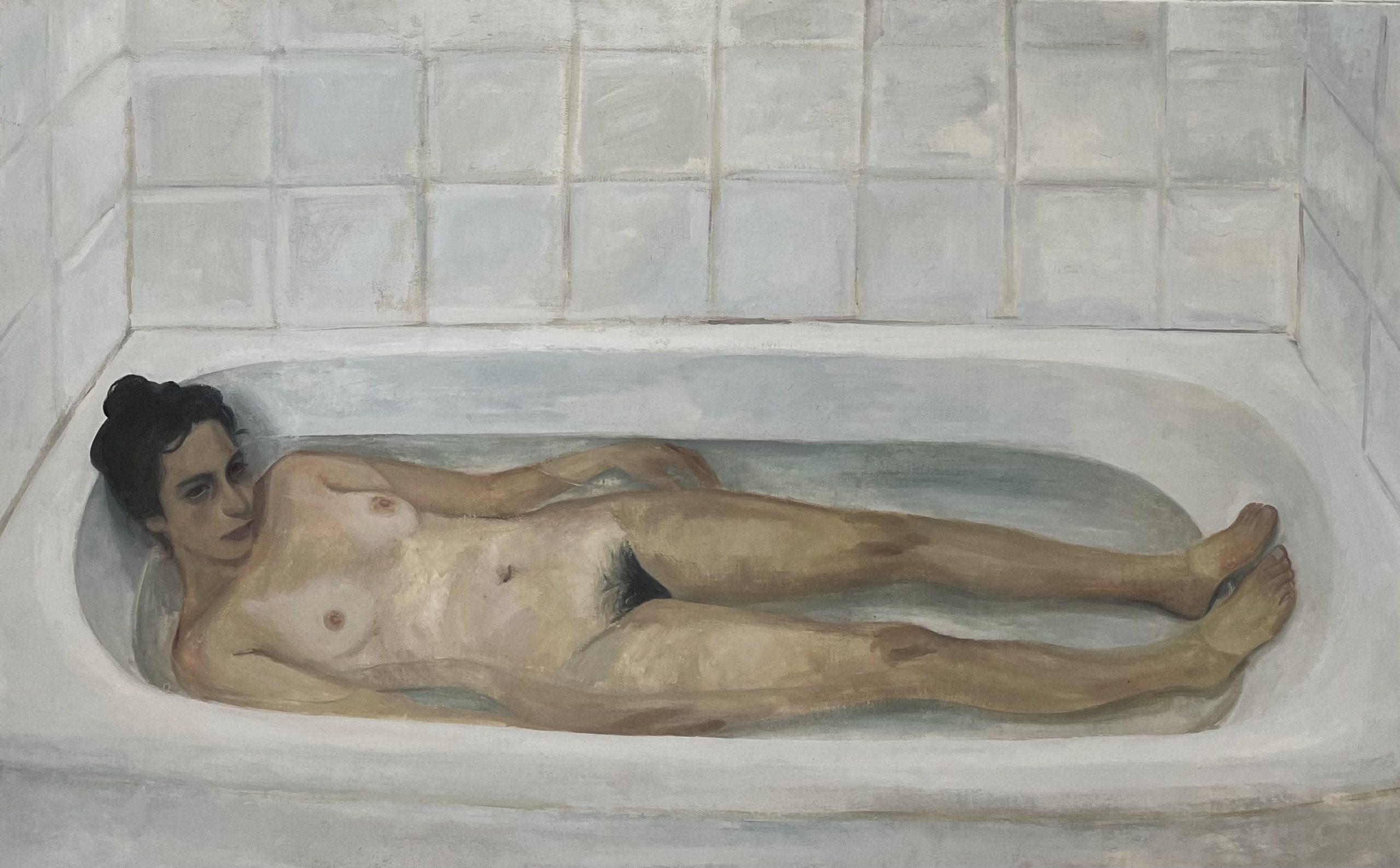 Elene dans la baignoire, 2021, huile sur toile, 73 x 116 cm
