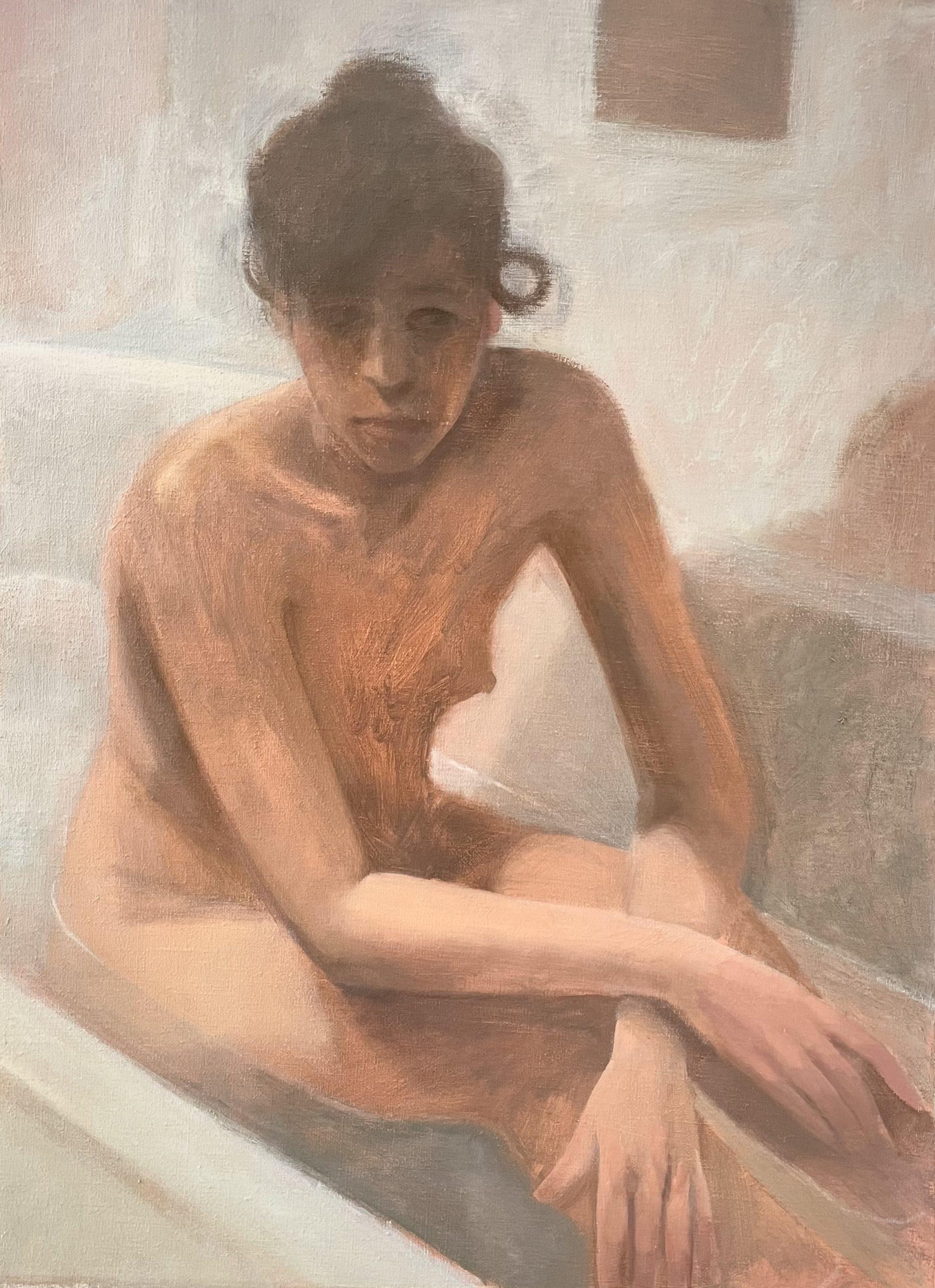 Elene dans la baignoire, version 2, 2021, huile sur toile, 65 x 47,5 cm