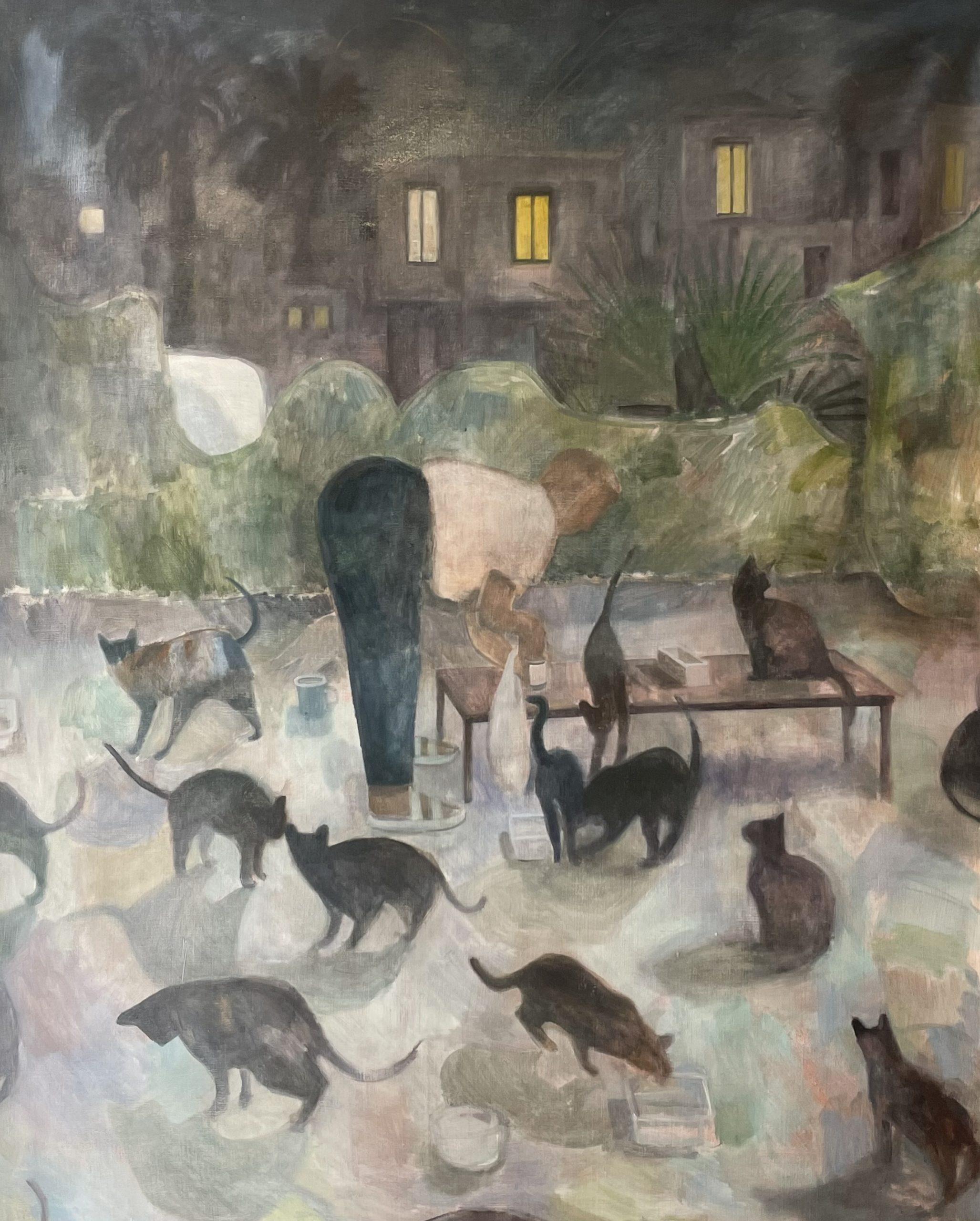 La dame aux chats, 2021, huile sur toile, 160,5 x 128,5 cm