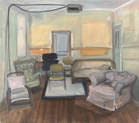 La projection, 2018, huile sur toile, 57 x 51 cm
