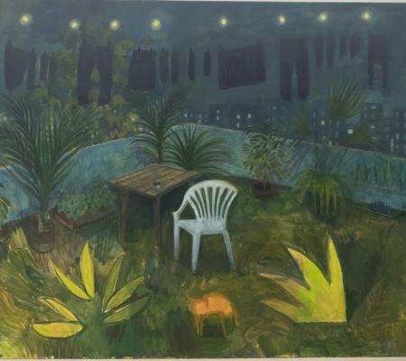 La terrasse, 2021, huile sur toile, 130 x 175 cm