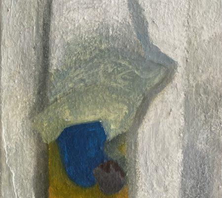 L'homme qui dort dans l'escalier, 2021, huile sur toile, 24 x 19 cm
