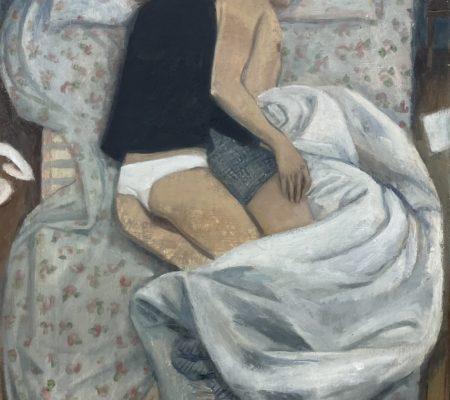 Madeleine et Clément version 1, 2020, huile sur toile, 55 x 38,5 cm