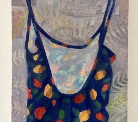 Maillot fleurs, La plage d'Alma, 2020, huile sur bois, 35 x 27cm