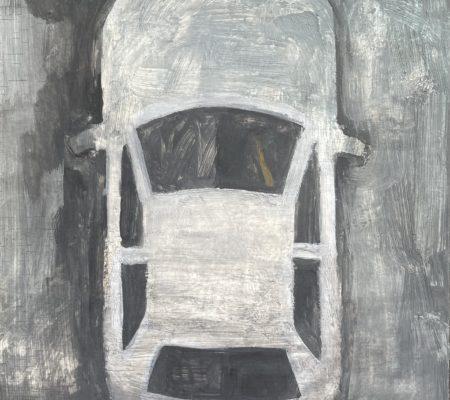 Marteau en voiture, 2021, huile sur bois, 27 x 22 cm
