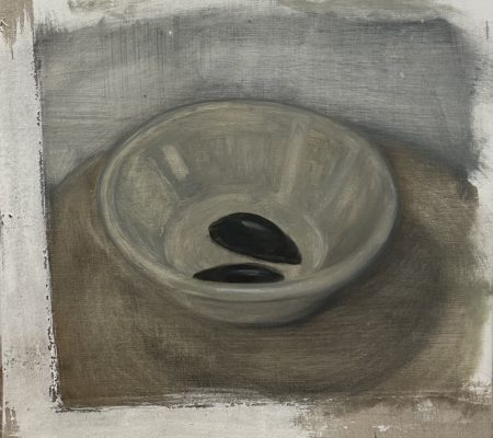 Moules, 2021, huile sur toile, 32 x 31cm