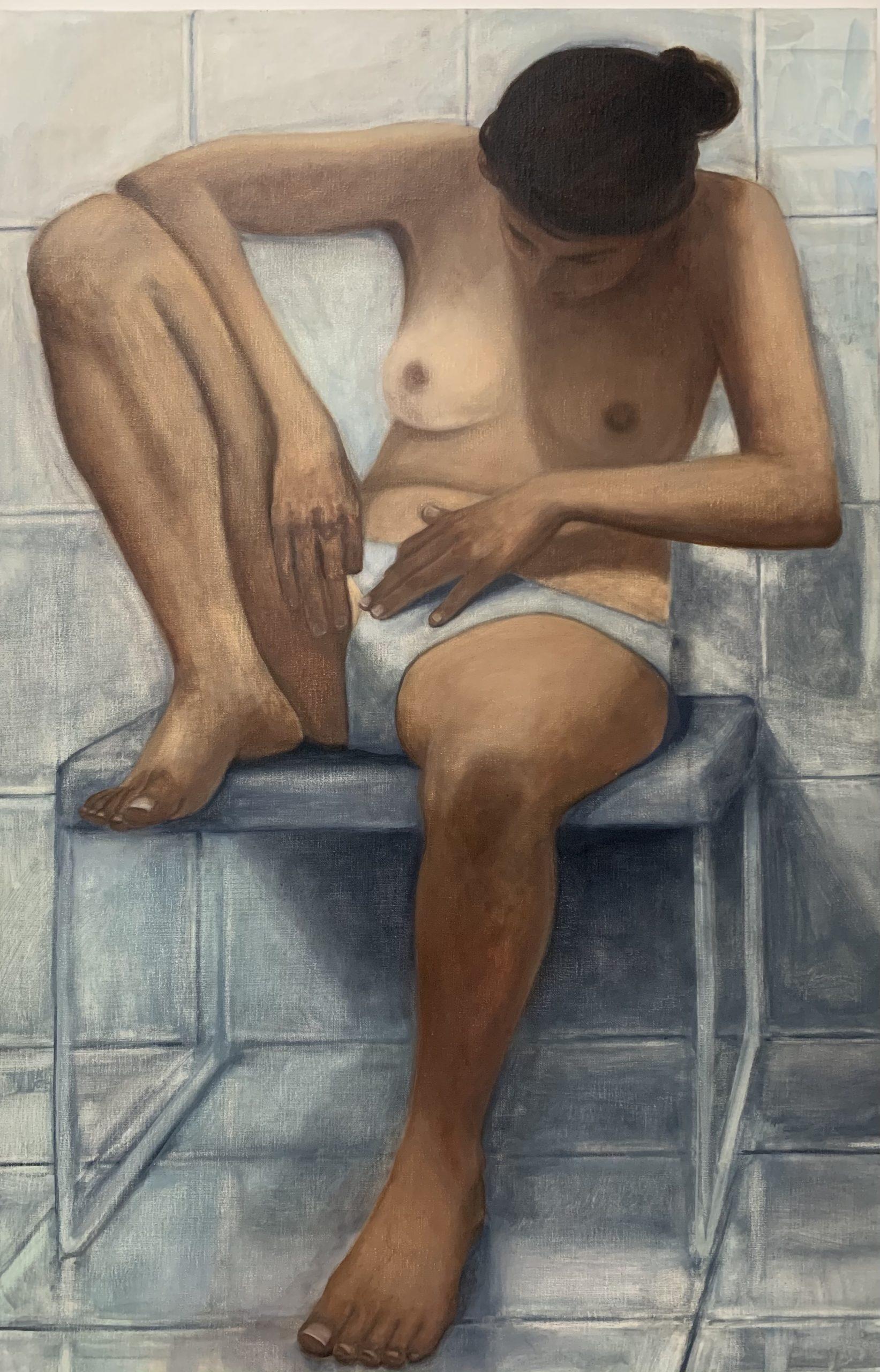 Pince à épiler, 2020, huile sur toile, 110 x 62 cm