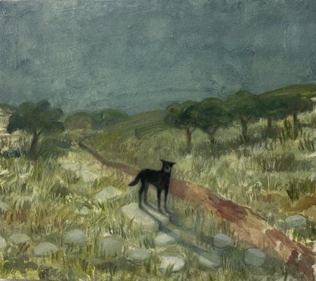 Un chien qui aboie, questions relatives au territoire divisé, 2021, gouache et huile sur bois, 28,5 x 31,5cm