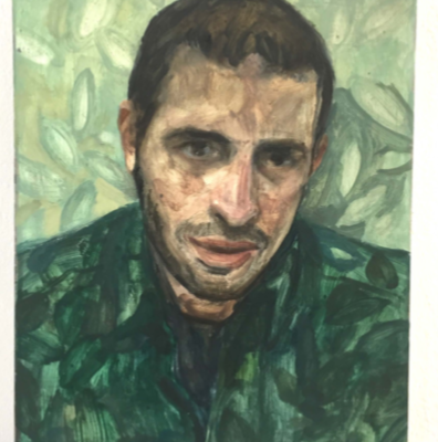 David, 2019, huile sur bois, 25x20cm